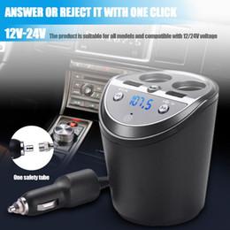 copo de voz Desconto Carro Carregador de Celular Cup Shaped Bluetooth Handsfree Voz de navegação MP3 Dual USB 2 em 1 Adaptador de isqueiro
