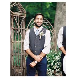 Chaleco de lana gris online-Chaleco de lana gris Tweed para el novio Vestido formal para el uso del novio Chaleco para hombre Estilo británico Boda Esmoquin Chaleco Talla grande