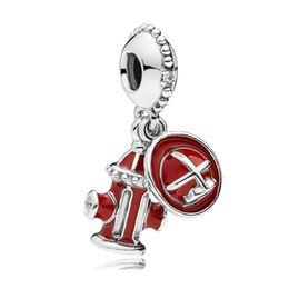 boules de laiton creuses Promotion 925 Pur Argent émail Essentials de pompier avec pendentif en cristal Charme Fit Original Pandora Bracelet Bracelet Femmes Bijoux DIY