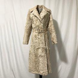 seni naturali Sconti rf2078 pelliccia reale Abito donna elegante Lamb X-lungo cappotto di pelliccia del cappotto a maniche lunghe Doppio Petto Natural Fashion