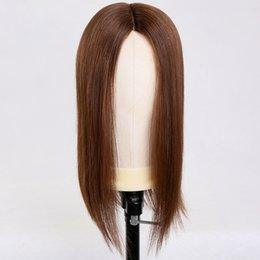 2020 braune haare mittlere perücke Premier Halbe Perücken Mono Lace Perücken für Frauen Medium Brown Farbe 150% Dichte brasilianische menschliche Haare Perücken günstig braune haare mittlere perücke