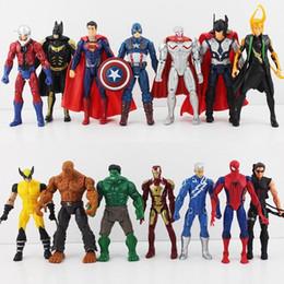 2019 juguetes avengers de hawkeye 14 unids / set 16 cm Los Vengadores 2 Edad de Ultron Hulk Hawkeye Capitán América Thor Batman Hombre Araña Figura de Acción Juguetes Regalos Para Niño rebajas juguetes avengers de hawkeye