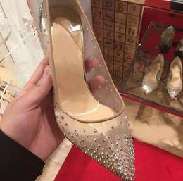 2020 zapatos de tacón de cristal CALIENTE primavera verano estilos elegantes zapatos de mujer Rhinestone tacones altos cristales punta estrecha malla bombas mujer zapatos de boda de suela roja zapatos de tacón de cristal baratos