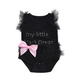 Bodysuits carino online-Neonata infantile Abito di pizzo nero Tuta My Little Black Dress Cute Body Romper Hot foratura Cute Bow 0-24 mesi