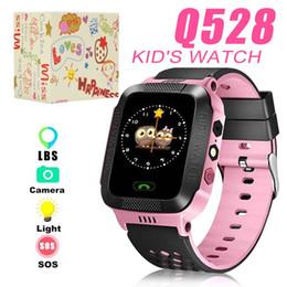 2019 scatole regalo di mele L'orologio impermeabile del bambino dell'orologio dei bambini dell'orologio astuto della vigilanza Q528 con la macchina fotografica SIM remota SOS chiama il regalo di posizione di LBS per i bambini in scatola al minuto scatole regalo di mele economici