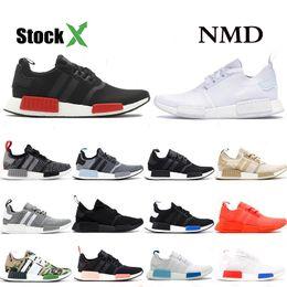 Großhandel Adidas NMD R1 Designer R1 Laufschuhe Für Männer Frauen Japan Triple Schwarz Weiß Solar Rot Läufer Damen Designer Sporttrainer Größe 36 45