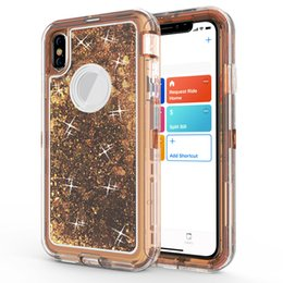 2019 titular de la tarjeta de crédito pegajosa para el teléfono 3 en 1 Glitter Liquid Quicksand Funda Bling Crystal Robot Defender Cubierta para iPhone X XR XS Max 6 7 8 Plus Samsung S9 S10 E S10 Plus Nota 9
