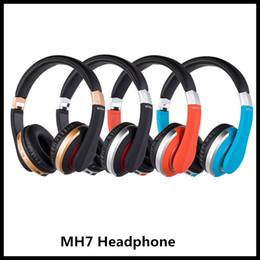 2019 marcas de vendas de plástico 1PC MH7 Auriculares inalámbricos Bluetooth Manos Libres TF tarjeta de apoyo plegable auriculares estéreo del juego para el teléfono móvil del iPad