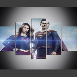 superman prints Promo Codes - 5 Piece Large Size Canvas Wall Art Pictures Creative Superman and Supergirl Art Print Oil Painting for Living Room
