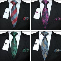 2019 großhandel gestreifte krawatten für männer Plaid Series Tie Set Mode Herren klassische Silk Hanky Cufflinks Jacquard Woven Krawatte Männer Business Tie Set TTA-1116