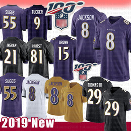 Tracy mcgrady jersey online-Baltimora Ravens 8 Lamar Jackson Jersey 29 Earl Thomas 55 Terrell Suggs 81 Hayden Hurst 15 Marquise Brown 9 Justin Tucker 21 Mark Ingram ll