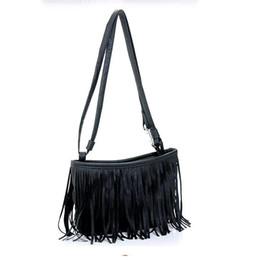 bolso de diseñador de ante negro Rebajas Diseñador - mujeres Tassle franja de la borla del ante del Faux mensajero del hombro de Crossbody del monedero del bolso Negro Marrón Blanco L09014