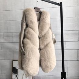 Abrigo de piel de zorro abrigo online-S-3XL más el tamaño cálido faux fox Fur Coat para mujer marca de moda de invierno sin mangas grueso abrigo de piel chaleco de piel prendas de vestir exteriores