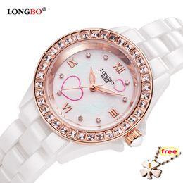 longbo watch woman Скидка LONGBO  Top Brand Ceramic Watch Women Leisure Diamonds Crystal Shining Shell Dial Waterproof Quartz Watch reloj mujer 6070