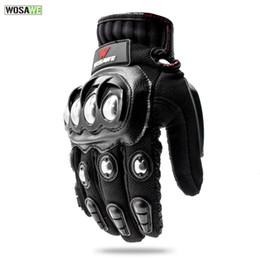 boletos completos para homens Desconto WOSAWE Luvas de Aço Inoxidável Da Motocicleta Tela Sensível Ao Toque Homem PU de Couro Anti-slip Full Finger Off Road Luvas De Corrida De Proteção