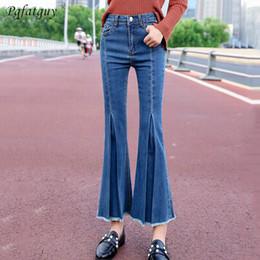 Sky Blue Hohe Taille Flare Jeans Frau Denim Hose Vintage Frauen Kleidung 2019 Freund Lose Gemütliche Jeans Hosen Vaqueros Mujer