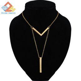 Enlaces de tira online-Sencillo clásico de moda Stick colgante collar Hollow Girl enlace largo cadena de collares de cobre joyería de tira larga para las mujeres
