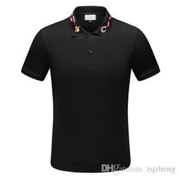 2019 stampa della maglietta di marca Primavera Luxury Italia Tee T-Shirt Designer Polo High Street Ricamo Giarrettiera Serpenti Little Bee Stampa Abbigliamento Uomo Polo di marca Shirt stampa della maglietta di marca economici