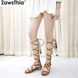 black punk sandals Coupons - ZawsThia 2019 casual summer flats shoes cross-tied strap bandage punk cowgirl shoes women gladiators sandals plus size 44 45 46
