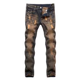 2019 pantalones vaqueros Nuevos 2019 de tinta salpica jeans para hombres Pantalones de los hombres ocasionales de los pantalones de los hombres de moda los pantalones de moda los pantalones lápiz largo Pantalones pantalones vaqueros baratos