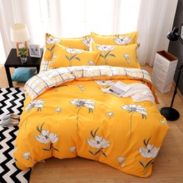 2019 elegante cama queen size conjuntos Floral Set cama King Size Elegant High End Bed amarelo capa de edredão rainha gêmeo completa Individual Duplo Cubra com fronha elegante cama queen size conjuntos barato