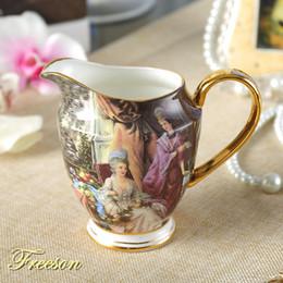 Copos de café vintage on-line-Vintage Osso China Jarro De Leite 340 ml Britânico Pastoral Porcelana Creamer Europa Chá De Cerâmica Chá Jarro De Café Espresso Copo