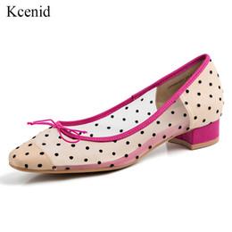 Canada Kcenid Chaussures à lacets en cuir véritable patchwork à pois pour femmes avec nœud papillon à bouts carrés espadrilles de loisirs d'été cheap bowtie polka dot shoes Offre