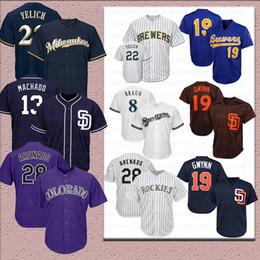 Camisetas de tony gwynn online-22 Christian Yelich Colorado 28 Jersey de Nolan Arenado Rockies San Diego 13 Manny Machado Padres 19 Tony Gwynn 4 Camiseta de béisbol Wil Brewers