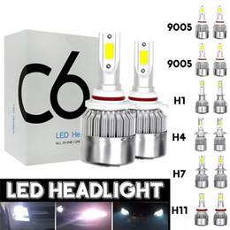 lâmpadas de luzes led vermelhas Desconto 2pcs 12V / 24V C6 Lâmpada LED H1 / H7 / H11 / 9005/9006 Faróis brancos 72W 7200Lm COB Farol Auto Lâmpada de luz de nevoeiro - H4