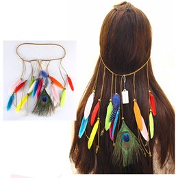 peacock hair band accessories Coupons - 6 styles Bohemian Peacock Feather Hair Band Women's Fashion National Wind Elegant Boutique Headpiece Hair Accessories