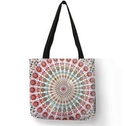 tessuti di lino Sconti Mandala Flower Fabric Tote Bags For Women Borsa riutilizzabile in ecopelle per shopping Borse pieghevoli con stampa floreale per Lady Traveling Beach