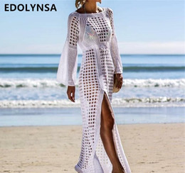 2019 Tığ Beyaz Örme Plaj Kapak Robe Plage Beachwear # Q716 kadar yüzün kapak örtbas elbise Tunik Uzun Pareos mayo kadar nereden en kısa seksi iç çamaşırı tedarikçiler