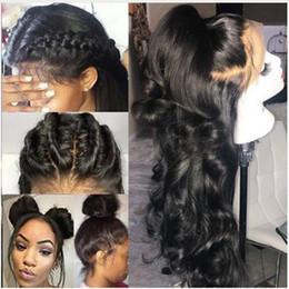 2019 cheveux de bébé en dentelle chinoise Perruques de cheveux humains de vague de corps brésilienne avec le défilé naturel 360 dentelle frontale perruques préplumées 180 densité 360 dentelle frontale