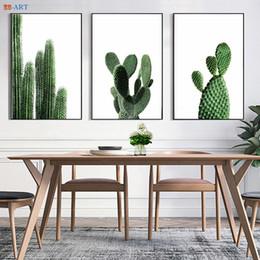Nordic Minimalist Cactus Leinwand Malerei Green Plant Poster und Drucke  Wandkunst Wandbilder Esszimmer Küche Boho Decor