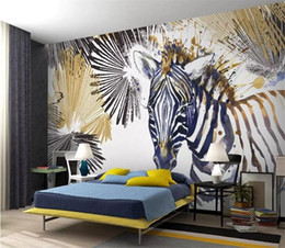 Papel de parede moderno legal on-line-Personalizado Wallpaper Photo Mural Modern Moda Linha simples Watercolor Zebra Cool Background TV Wall papel de Parede