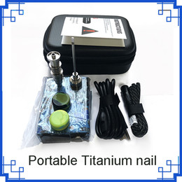 Caixa de unhas on-line-Prego portátil dab unhas eletronica dnail kits TC caixa dabber digital com Titanium nail tem 16 / 20mm para bongo de vidro Camo Wood 0268106