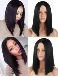 Canada Cheveux droits synthétiques Cheveux courts noirs perruques Bob perruque partie centrale pour les femmes Offre