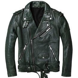 2019 grüne lederjacke herren Mens-echte Leder-Jacken und Mäntel 100% reale Kuh Kuhfell Motorradfahrer Grün Mann-Marken-Kleidung Jaqueta masculino couro rabatt grüne lederjacke herren