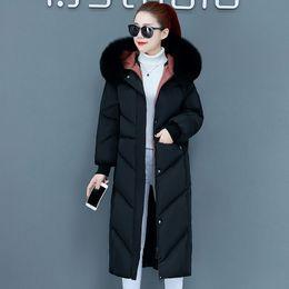 Mode Frauen Winter 2019 Mäntel Neuer Weibliche Jacken unten Baumwolllos Eindickung Hood koreanische Version von Größe Baumwollmantel