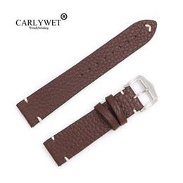 Argentina CARLYWET 20 22 24 mm Correa de reloj de cuero genuino liso de cuero de la vendimia para cheap vintage watch bands Suministro