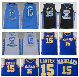 2020 scuola nera degli alti talloni Vince 15 Carter Jersey Scuola Superiore Mainland NCAA Carolina del Nord Tar Heels College Pullover di pallacanestro Blu Bianco Nero Superiore! S-XXL scuola nera degli alti talloni economici