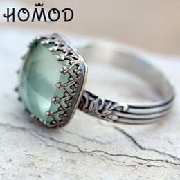 anel de homem de pedra verde Desconto HOMOD 2019 Novo Verde Escuro Pedra Anéis Para As Mulheres Presente de Casamento Anéis De Prata Homens Princesa Jóias De Luxo Bague Femme Anillos Mujer