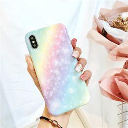 Funda de silicona arco iris online-Funda de teléfono Fantasy Rainbow para Iphone X XR XS MAX Funda de silicona suave IMD para iPhone 6 7 8 Plus