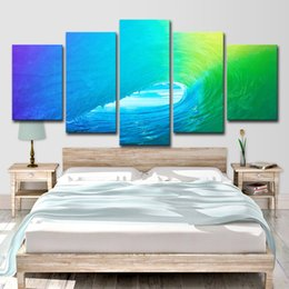 Canada 5 Pcs Coloré Roulant Vague Décor Peintures Abstraites Salon Mur Art HD Impression Toile Peinture Mode Suspendre Photos cheap abstract paintings waves Offre