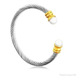 diseño de brazaletes de imitación Rebajas Regalo de Navidad Día de las pulseras abiertas imitación de perlas brazalete pulsera brazalete de la vendimia Diseño de acero inoxidable de los brazaletes Declaración de joyería de San Valentín