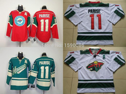 Billige hockey jerseys china online-Authentische billige Minnesota Wild Jerseys # 11 Zach Parise Jersey rot weiß grün Großhandel Eishockey Jerseys China