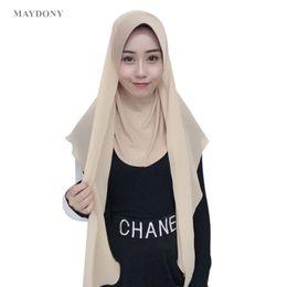 chiffon hijab schals Rabatt TJ71 New Chiffon Easy Muslim Hijabs Schal Mode Kopftuch Voile Musulman Feste Mütze Hijab