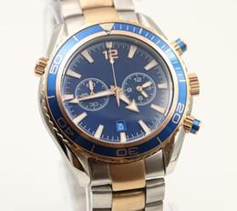Dois movimentos assistem on-line-2 Estilos Mens Sport Diver Watch relógios de quartzo movimento relógio de pulso agente 007 favoritos relógios de pulso rotativo moldura de dois tons de aço banda