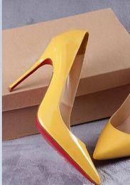 Высокое качество 2019 женская обувь красные днища высокие каблуки Сексуальная острым носом красная подошва 8 см 10 см 12 см насосы поставляются с логотипом мешки для пыли свадебные туфли от