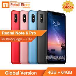 "bar barato gsm bar Rebajas Nuevo original Xiaomi Redmi 6 Pro, teléfono móvil 4GB RAM 32 / 64GBGB ROM Snapdragon 625 Octa Core 5.84 ""19: 9 Cámara AI dual de pantalla completa 4000mAh"